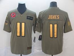 Mens Nfl Atlanta Falcons #11 Julio Jones 2019 Green Olive Gold Number Salute To Service Limited Jersey