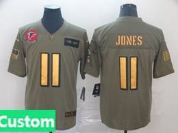 Mens Nfl Atlanta Falcons Custom Made 2019 Green Olive Gold Number Salute To Service Limited Jersey