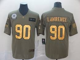 Mens Nfl Dallas Cowboys #90 Demarcus Lawrence 2019 Green Olive Gold Number Salute To Service Limited Jersey