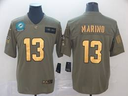 Mens Miami Dolphins #13 Dan Marino 2019 Green Olive Gold Number Salute To Service Limited Jersey