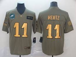 Mens Nfl Philadelphia Eagles #11 Carson Wentz 2019 Green Olive Gold Number Salute To Service Limited Jersey