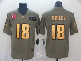 Mens Nfl Atlanta Falcons #18 Calvin Ridley 2019 Green Olive Gold Number Salute To Service Limited Jersey
