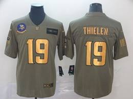 Mens Nfl Minnesota Vikings #19 Adam Thielen 2019 Green Olive Gold Number Salute To Service Limited Jersey