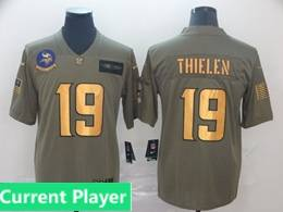 Mens Nfl Minnesota Vikings Current Player 2019 Green Olive Gold Number Salute To Service Limited Jersey