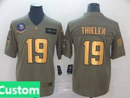 Mens Nfl Minnesota Vikings Custom Made 2019 Green Olive Gold Number Salute To Service Limited Jersey