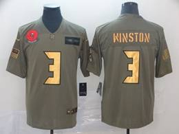Mens Nfl Tampa Bay Buccaneers #3 Jameis Winston 2019 Green Olive Gold Number Salute To Service Limited Jersey