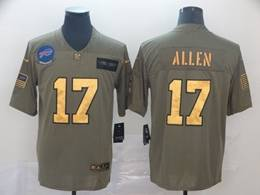 Mens Nfl Buffalo Bills #17 Josh Allen 2019 Green Olive Gold Number Salute To Service Limited Jersey