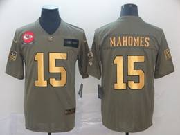 Mens Nfl Kansas City Chiefs #15 Patrick Mahomes 2019 Green Olive Gold Number Salute To Service Limited Jersey