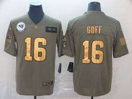 Mens Nfl Los Angeles Rams #16 Jared Goff 2019 Green Olive Gold Number Salute To Service Limited Jersey