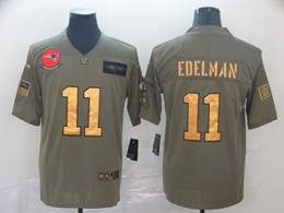 Mens New England Patriots #11 Julian Edelman 2019 Green Olive Gold Number Salute To Service Limited Jersey