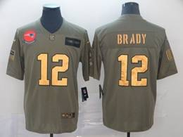 Mens New England Patriots #12 Tom Brady 2019 Green Olive Gold Number Salute To Service Limited Jersey