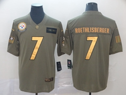 Mens Nfl Pittsburgh Steelers #7 Ben Roethlisberger 2019 Green Olive Gold Number Salute To Service Limited Jersey