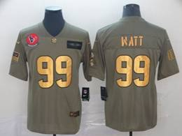 Mens Nfl Houston Texans #99 Jj Watt 2019 Green Olive Gold Number Salute To Service Limited Jersey