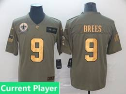 Mens Nfl New Orleans Saints Current Player 2019 Green Olive Gold Number Salute To Service Limited Jersey