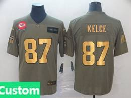 Mens Nfl Kansas City Chiefs Custom Made 2019 Green Olive Gold Number Salute To Service Limited Jersey
