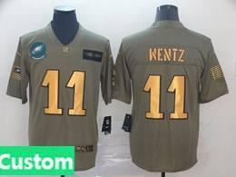 Mens Nfl Philadelphia Eagles Custom Made 2019 Green Olive Gold Number Salute To Service Limited Jersey