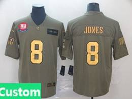 Mens Nfl New York Giants Custom Made 2019 Green Olive Gold Number Salute To Service Limited Jersey