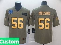 Mens Nfl Indianapolis Colts Custom Made 2019 Green Olive Gold Number Salute To Service Limited Jersey