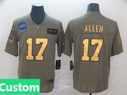Mens Nfl Buffalo Bills Custom Made 2019 Green Olive Gold Number Salute To Service Limited Jersey