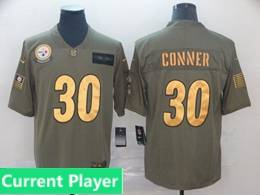 Mens Nfl Pittsburgh Steelers Current Player 2019 Green Olive Gold Number Salute To Service Limited Jersey