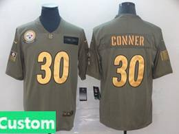 Mens Nfl Pittsburgh Steelers Custom Made 2019 Green Olive Gold Number Salute To Service Limited Jersey