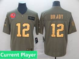 Mens New England Patriots Current Player 2019 Green Olive Gold Number Salute To Service Limited Jersey
