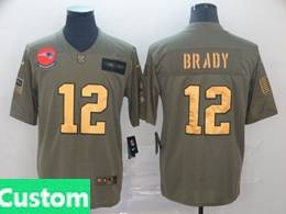 Mens New England Patriots Custom Made 2019 Green Olive Gold Number Salute To Service Limited Jersey
