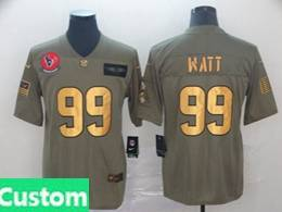 Mens Nfl Houston Texans Custom Made 2019 Green Olive Gold Number Salute To Service Limited Jersey