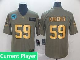 Mens Nfl Carolina Panthers Current Player 2019 Green Olive Gold Number Salute To Service Limited Jersey