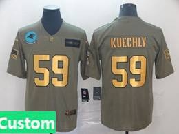 Mens Nfl Carolina Panthers Custom Made 2019 Green Olive Gold Number Salute To Service Limited Jersey