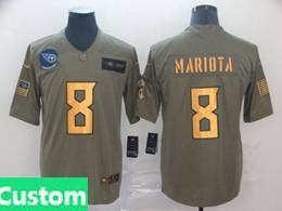 Mens Nfl Tennessee Titans Custom Made 2019 Green Olive Gold Number Salute To Service Limited Jersey