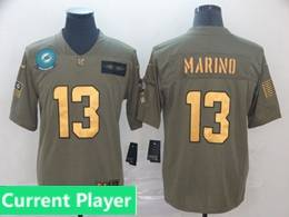 Mens Miami Dolphins Current Player 2019 Green Olive Gold Number Salute To Service Limited Jersey