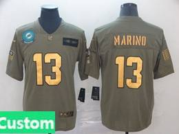Mens Miami Dolphins Custom Made 2019 Green Olive Gold Number Salute To Service Limited Jersey