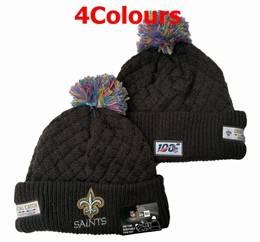 Mens Nfl New Orleans Saints Black&white 100th New Sport Knit Hats 4 Colors