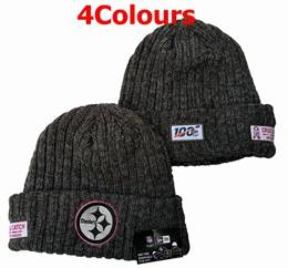 Mens Nfl Pittsburgh Steelers Black&yellow 100th New Sport Knit Hats 4 Colors