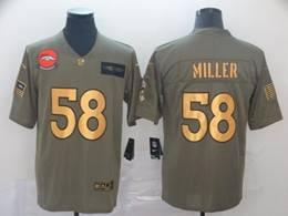 Mens Nfl Denver Broncos #58 Von Miller 2019 Green Olive Gold Number Salute To Service Limited Jersey