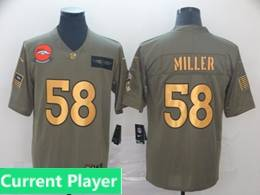 Mens Nfl Denver Broncos Current Player 2019 Green Olive Gold Number Salute To Service Limited Jersey