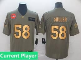 Mens Nfl Denver Broncos Current Player 2019 Green Olive Gold Number Salute To Service Limited Jersey