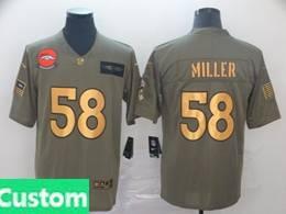 Mens Nfl Denver Broncos Custom Made 2019 Green Olive Gold Number Salute To Service Limited Jersey