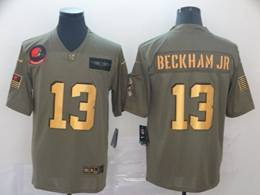 Mens Nfl Cleveland Browns #13 Odell Beckham Jr 2019 Green Olive Gold Number Salute To Service Limited Jersey