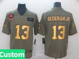Mens Nfl Cleveland Browns Custom Made 2019 Green Olive Gold Number Salute To Service Limited Jersey