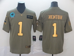 Mens Nfl Carolina Panthers #1 Cam Newton 2019 Green Olive Gold Number Salute To Service Limited Jersey