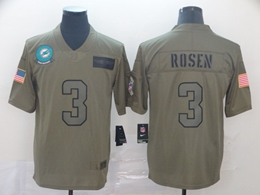 Mens Miami Dolphins #3 Josh Rosen Green 2019 Salute To Service Limited Jersey