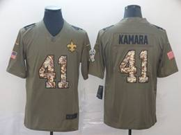 Mens Nfl New Orleans Saints #41 Alvin Kamara Green Olive Camo Number Salute To Service Limited Jersey