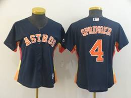 Women Houston Astros #4 George Springer Navy Cool Base Jersey