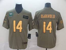 Mens Nfl New York Jets #14 Sam Darnold 2019 Green Olive Gold Number Salute To Service Limited Jersey