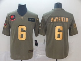 Mens Nfl Cleveland Browns #6 Baker Mayfield 2019 Green Olive Gold Number Salute To Service Limited Jersey