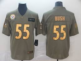 Mens Nfl Pittsburgh Steelers #55 Devin Bush 2019 Green Olive Gold Number Salute To Service Limited Jersey