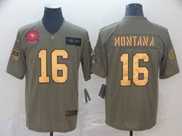 Mens Nfl San Francisco 49ers #16 Joe Montana 2019 Green Olive Gold Number Salute To Service Limited Jersey