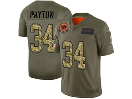 Mens Nfl Chicago Bears #34 Walter Payton 2019 Green Olive Camo Salute To Service Nike Limited Jersey